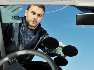 Man Installing a Windshield